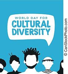 verscheidenheid, mensen, cultureel, anders, team, kaart
