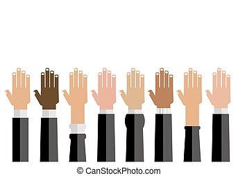 verscheidenheid, op, handen