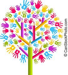 verscheidenheid, opleiding, boompje, handen