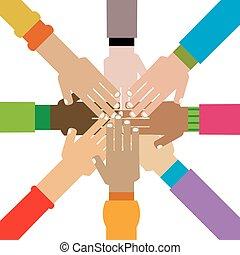 verscheidenheid, samen, handen