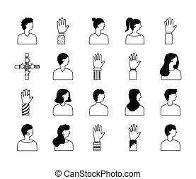 verscheidenheid, set, iconen, mensen, bundel