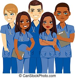 verscheidenheid, verpleegkundige, team
