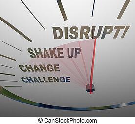 verschiebung, idee, neu , paradigm, geschwindigkeitsmesser, stören