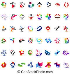 verschieden, 48, bunte, 7), vektor, icons:, (set