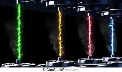 verschieden, animation, macht, elektrizität, farben