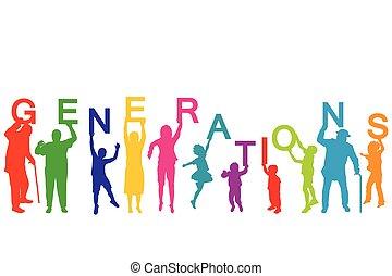 verschieden, begriff, alter, generationen, leute