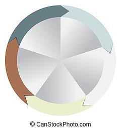 verschieden, begriff, bunte, geschaeftswelt, pfeile, abbildung, vektor, banner, kreisförmig, design.
