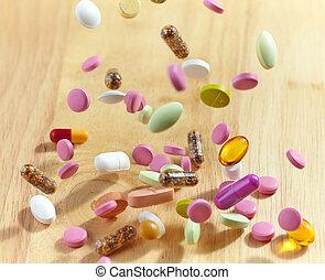 verschieden, fallender , pillen