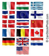 verschieden, flaggen, länder