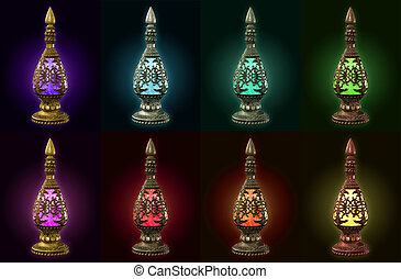 verschieden, flaschen, metall, farben, materialien, acht