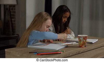 verschieden, gemälde, schoolgirls, aquarelle