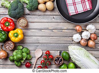 verschieden, gemuese, früchte, und, kraeuter, mit, a, bratpfanne