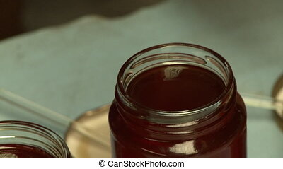 verschieden, gläser, honig