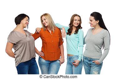 verschieden, gruppe, kleidung, glücklich, beiläufig, frauen