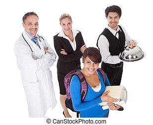 verschieden, gruppe, von, lächeln, arbeiter
