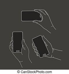 verschieden, hände, mit, modern, smartphone, vektor, collection., wohnung, design