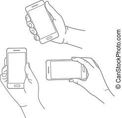 verschieden, hände, mit, modern, smartphone, vektor, sammlung