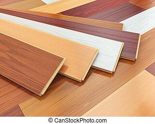 verschieden, hölzern, laminat, o, farben, floor., parkett, planken
