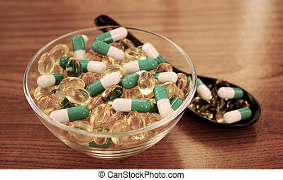 verschieden, hölzerne schüssel, tabletten, hintergrund., ...