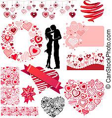 verschieden, herzen, sammlung, valentines