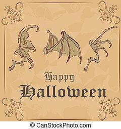 verschieden, illustration., halloween, drei, vektor, skeletons., flügel , glücklich