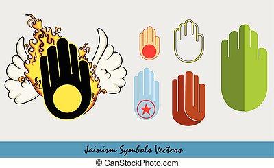 verschieden, jainism, vektor, symbole