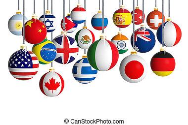 verschieden, kugeln, flaggen, hintergrund, hängender , weißes weihnachten