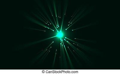 verschieden, licht, laser, illustration., balken, ausgestrahlt, vektor, grün, effekte, hintergrund, nacht, directions.