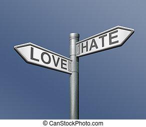verschieden, liebe, mögen, geschmack, not, hass