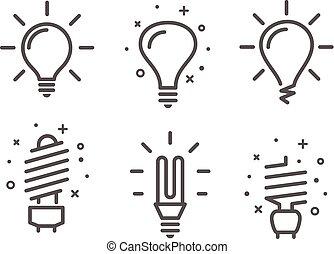 verschieden, modern, lightbulb, vektor, heiligenbilder, satz, freigestellt, weiß, hintergrund