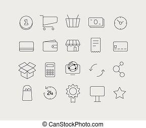 verschieden, modern, medien, web, anwendung, heiligenbilder, collection., vektor, clip-art