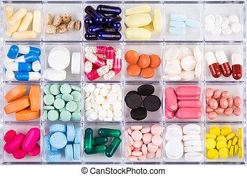 verschieden, pillen, und, kapseln, in, behälter