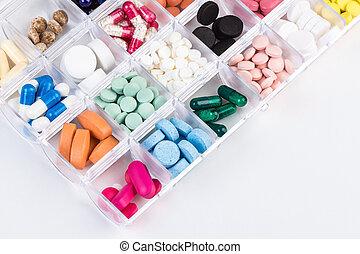 verschieden, pillen, und, kapseln, in, plastikbehälter