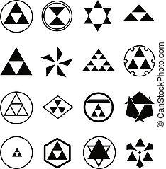 verschieden, religiöse symbole