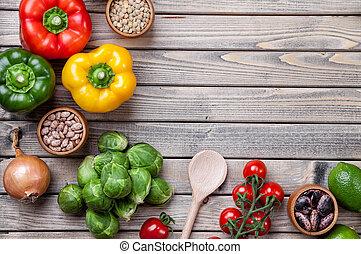 verschieden, rohkost-gemüse, früchte, und, kraeuter