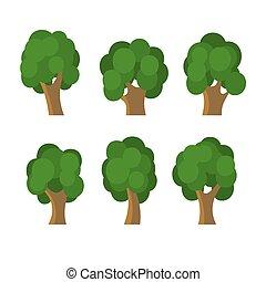 verschieden, satz, bäume, vektor, grün, icons.