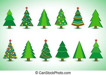 verschieden, satz, freigestellt, bäume, weihnachten