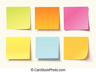 verschieden, satz, gefärbt, merkzettel, blätter, papiere