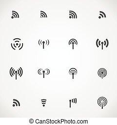 verschieden, satz, heiligenbilder, wifi, radio, vektor, schwarz, sechzehn