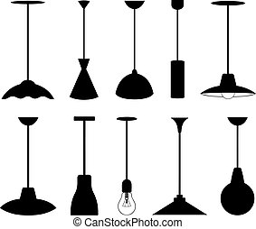 verschieden, satz, lampen, anhänger