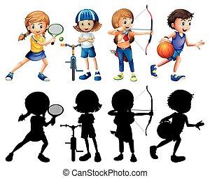 verschieden, satz, silhouette, kinder, sport