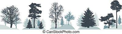 verschieden, satz, silhouette, winter, bäume., wald, vektor, illustration.