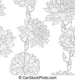verschieden, satz, tapete, hand, flowers., blumen-, gezeichnet