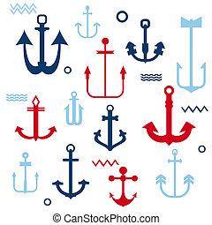 verschieden, schiffsanker, sammlung, -, für, dein, logo,...