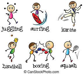 verschieden, sechs, sport