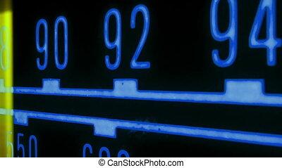verschieden, stationen, frequenzen, rennender , glühen, ...