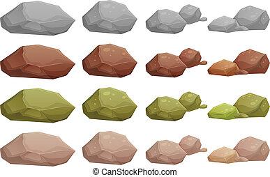verschieden, steinen