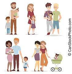 verschieden, vektor, illustration., familie