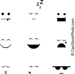 verschieden, vektor, sammlung, clipart, emoji