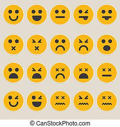 verschieden, vektor, satz, emoticons